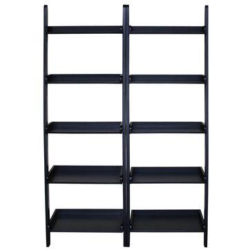 International Concepts Transitional 2-Piece 5-Shelf Leaning Shelf Unit in Black, , large