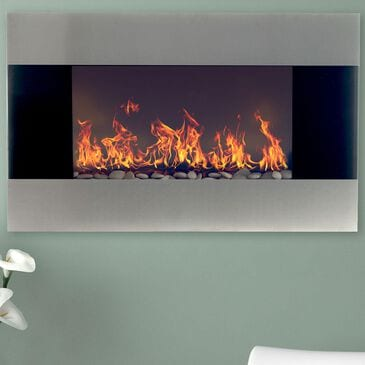 """Timberlake Northwest 36"""" Electric Fireplace with Wall Mount in Stainless Steel, , large"""