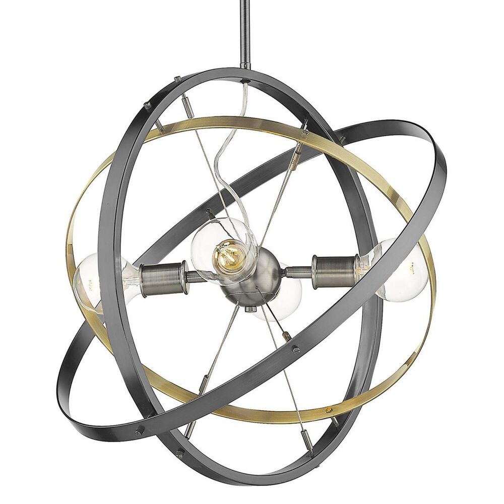 Golden Lighting Atom 4-Light Chandelier in Brushed Steel with Aged Brass and Black Brushed Steel Accent Rings, , large