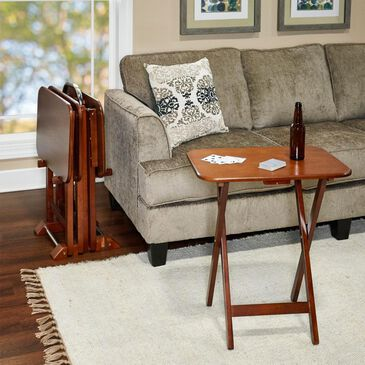 Parkerville Furniture Line TV Tray Table Set with Stand in Cherry (Set of 4), , large