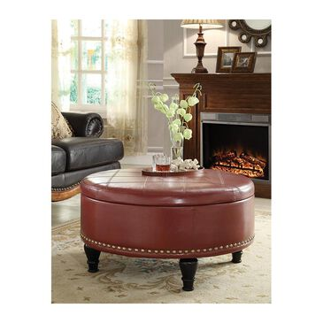 OSP Home Augusta Storage Ottoman in Crimson Red Bonded Leather, , large