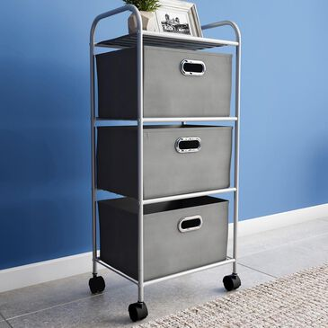 Timberlake Lavish Home 3-Drawer Storage Cart in Gray/Silver, , large