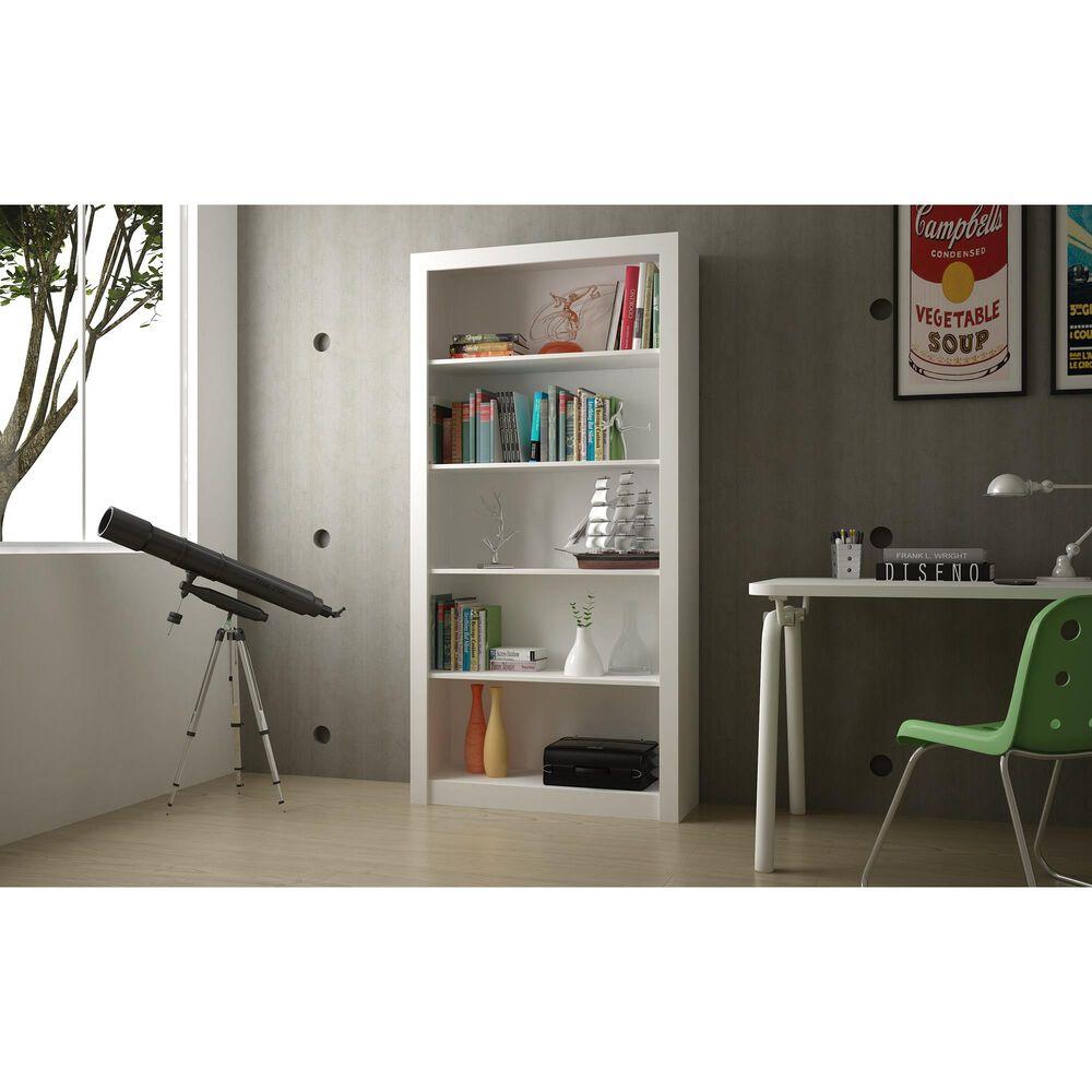 Dayton Olinda 5-Shelf Bookcase in White, , large