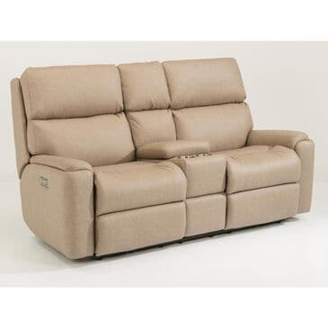 Flexsteel Rio Power Reclining Loveseat with Console and Headrest in Flint, , large