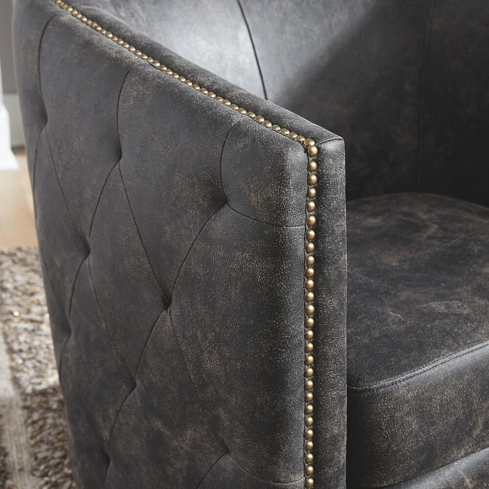 Signature Design by Ashley Brentlow Swivel Chair in Distressed Black, , large