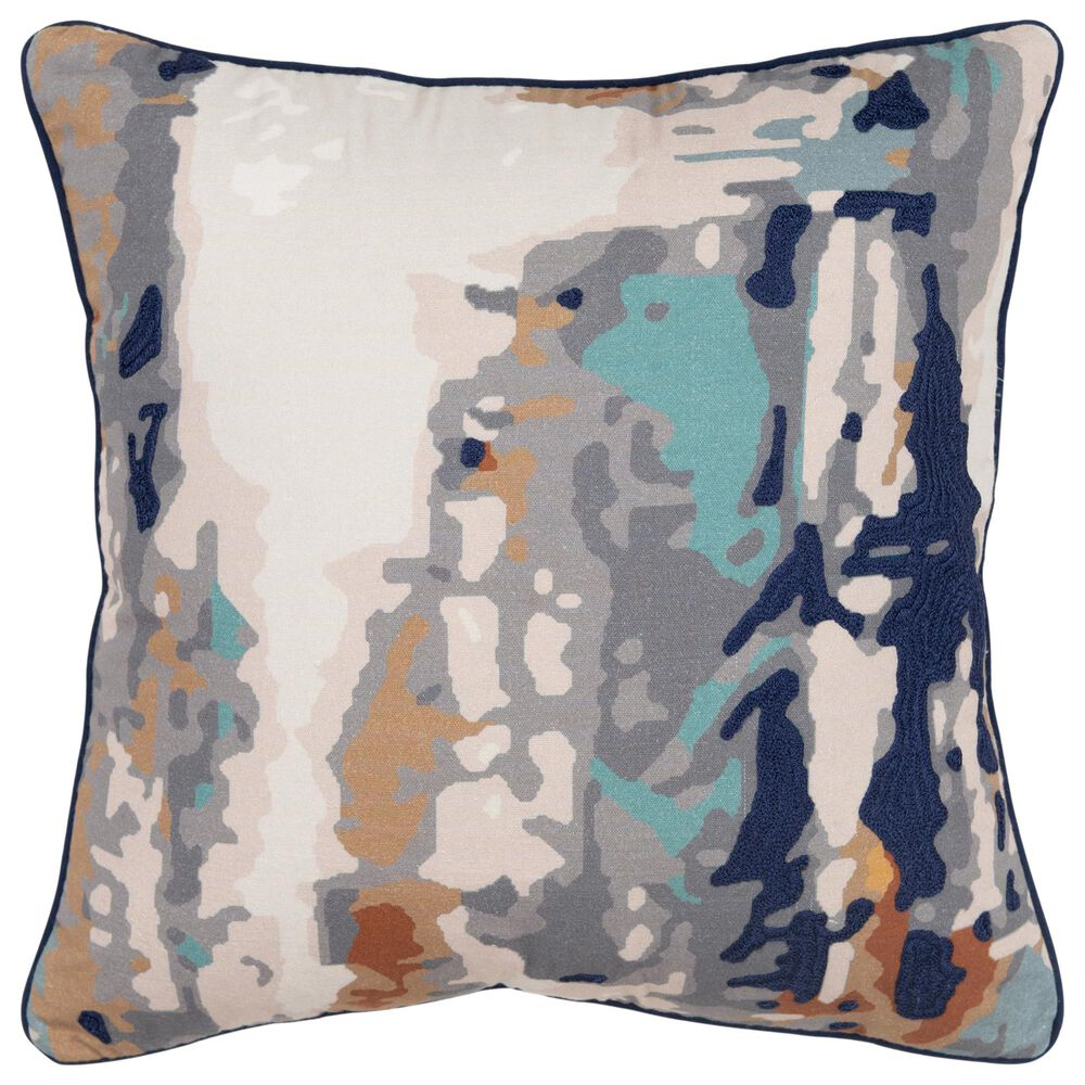 """Rizzy Home Connie Post 20"""" Down Filled Pillow in Gray/Navy, , large"""