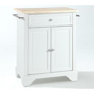 Crosley Furniture Lafayette Natural Wood Top Portable Kitchen Island in White, , large