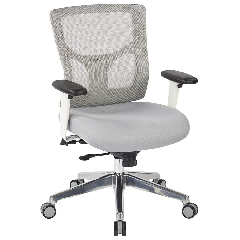 OSP Home ProGrid Mid Back Chair in White and Grey, , large