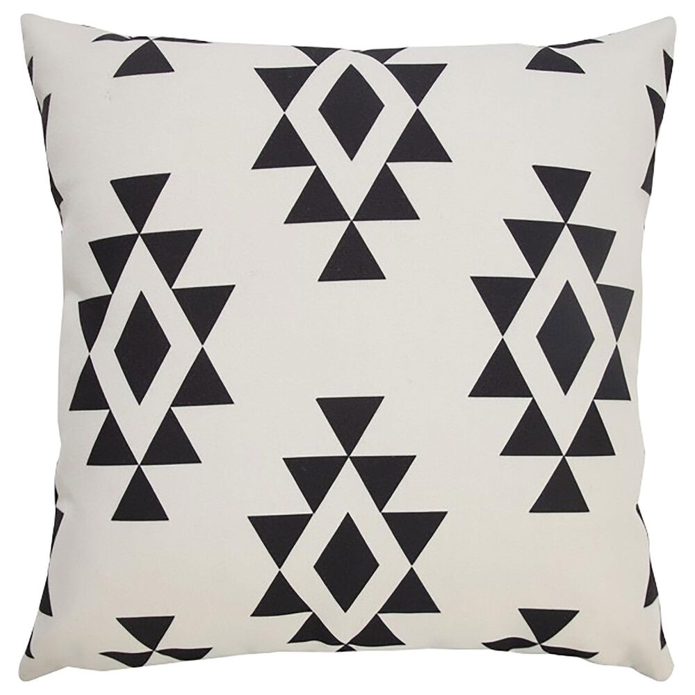 """L.R. RESOURCES 20"""" x 20"""" Diamond Outdoor Pillow in White and Black, , large"""