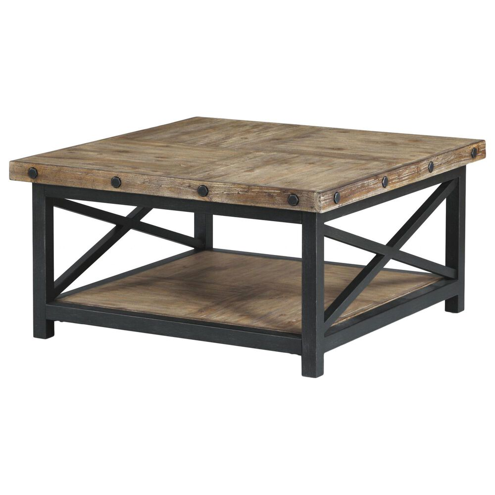 Flexsteel Carpenter Square Coffee Table in Rustic Light Brown, , large