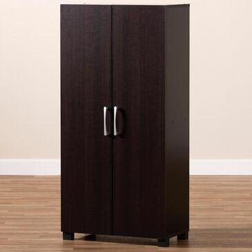 Baxton Studio Marine 2-Door Entryway 6-Shelves Shoe Storage Cabinet in Wenge, , large