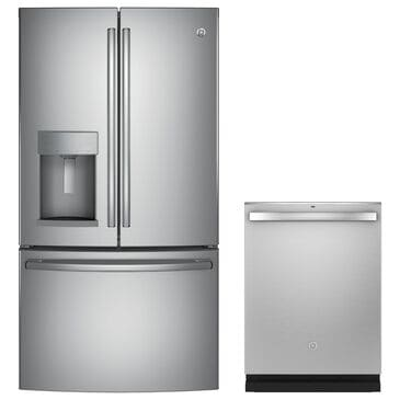 GE Appliances 27.8 Cu. Ft. French-Door Refrigerator and Interior Dishwasher in Stainless Steel, , large