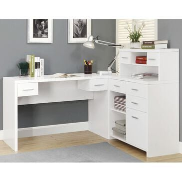 Monarch Specialties Corner Computer Desk in White, , large
