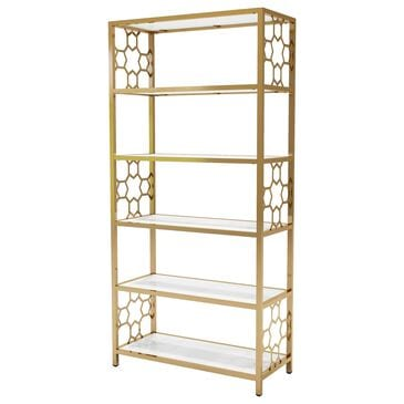 Furniture of America Emerson Bookcase in White/Gold, , large
