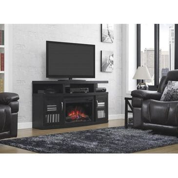 """at HOME Cantilever 60"""" TV Stand with Fireplace Insert in Black, , large"""