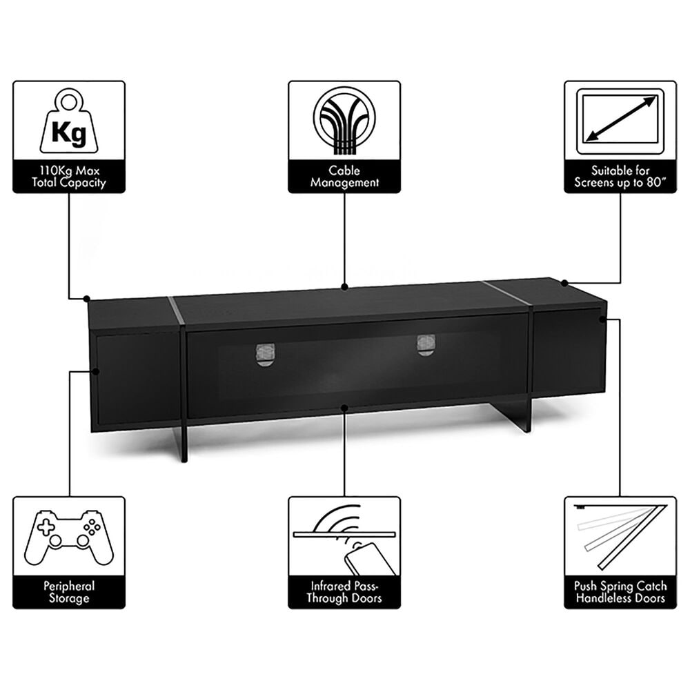 "AVF Group Edge 63"" TV Stand with Drop Door in Black, , large"