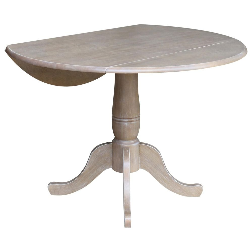 """International Concepts 42"""" Modern Farmhouse Round Casual  Drop Leaf Dining Table in Gray , , large"""