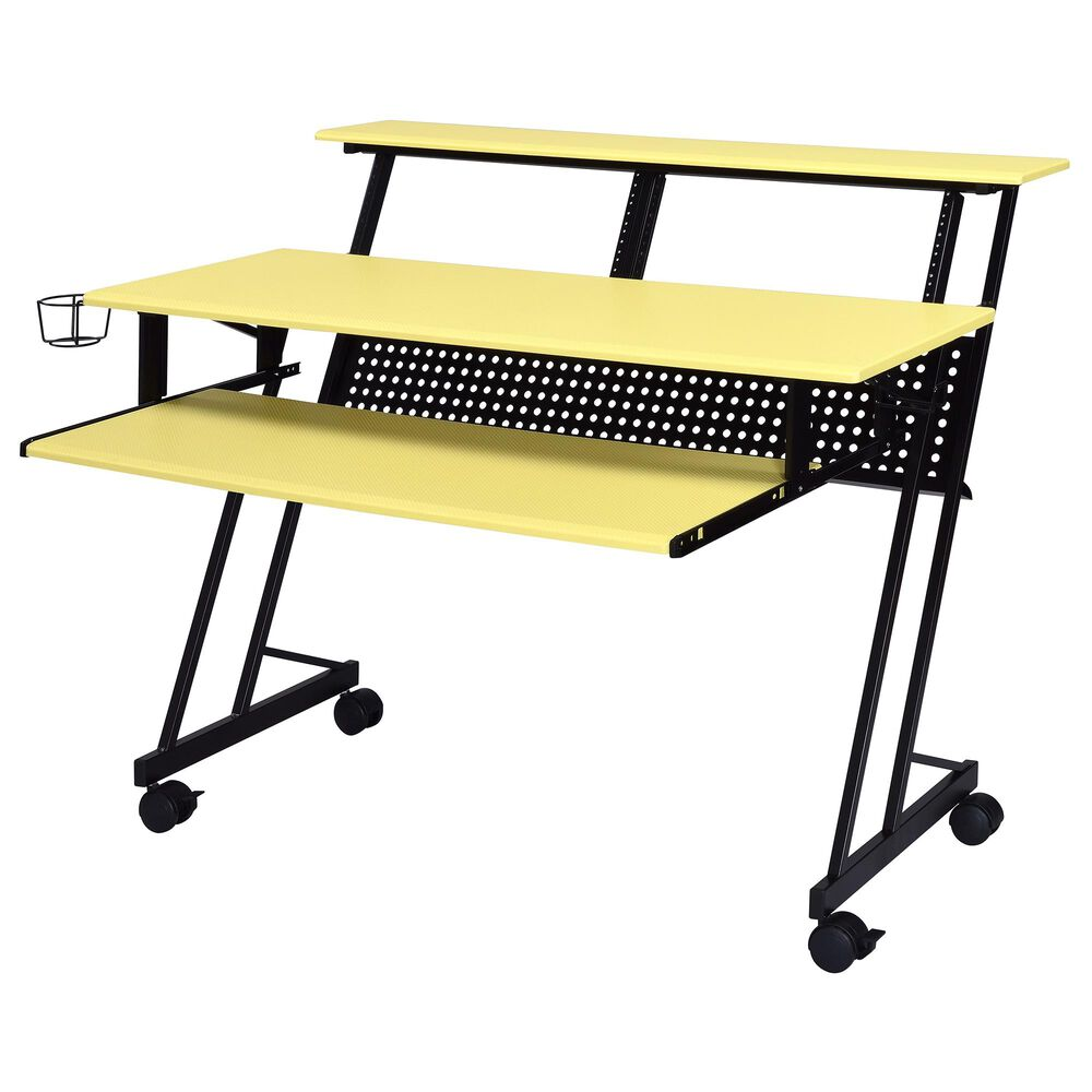 Gunnison Co. Suitor Computer Desk in Yellow/Aluminum, , large