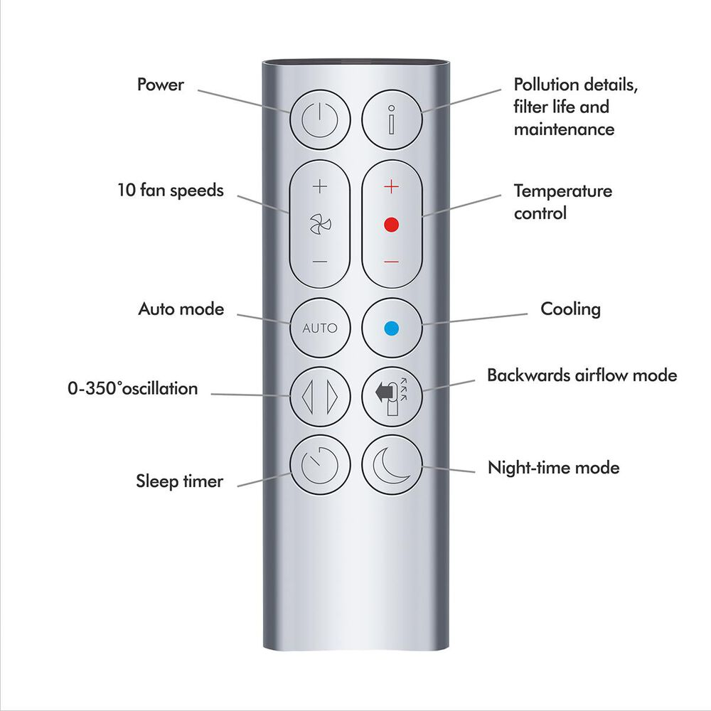 Dyson Pure HP04 Hot+Cool Purifying Heater and Fan in White and Silver , , large