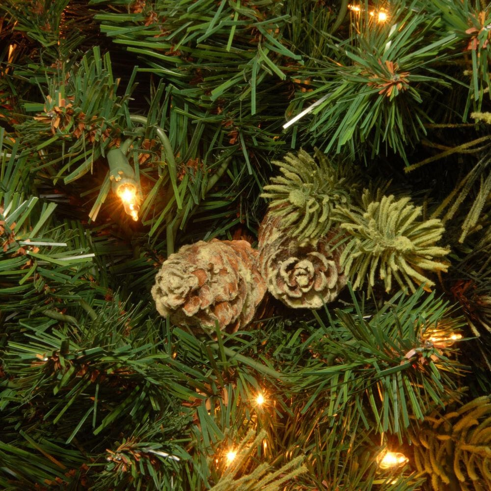 National Tree 12' Carolina Pine Hinged Tree with Flocked Cones and White Lights, , large
