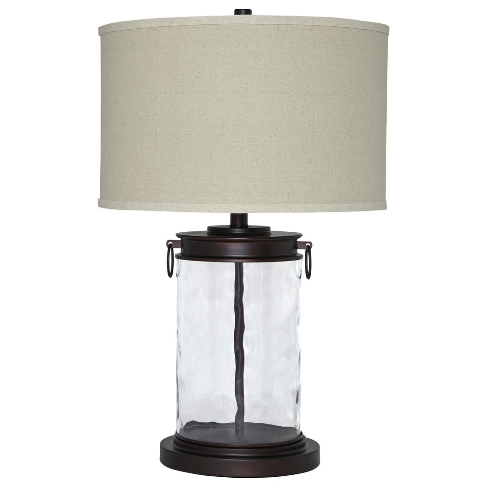 Signature Design by Ashley Tailynn Glass Table Lamp in Clear and Bronze, , large