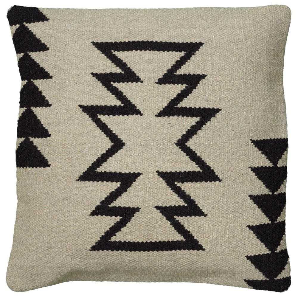 """Rizzy Home 18"""" x 18"""" Pillow Cover in Black and Natural, , large"""