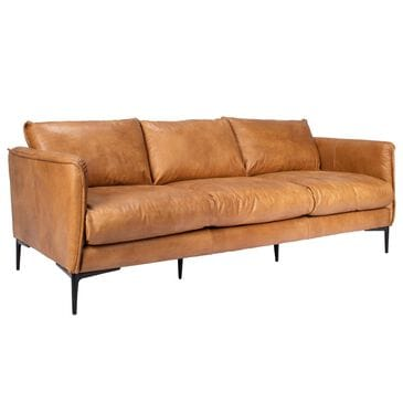 Greenbrier Interiors Abigail Leather Sofa in Brown, , large