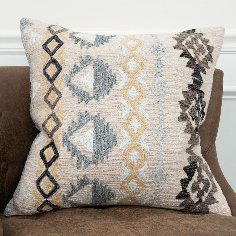 """Rizzy Home Geometric 20"""" Down Filled Pillow in Natural, , large"""