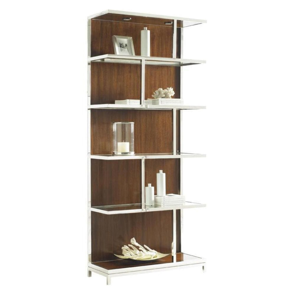 Lexington Furniture Mirage Kelly Bookcase in Quartered Walnut with Lighting, , large
