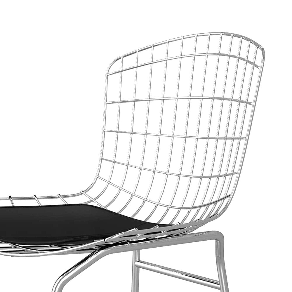 Dayton Madeline Metal Chair with Seat Cushion in Silver/Black, , large