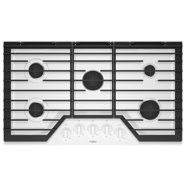 """Whirlpool 36"""" Gas Cooktop with 5 Burner in White, , large"""