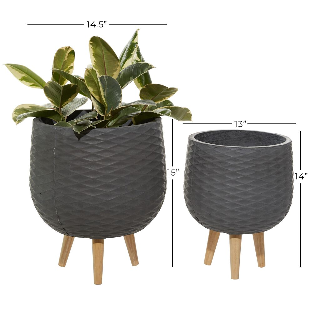 Maple and Jade Contemporary Ceramic Planter Grey Set of 2, , large