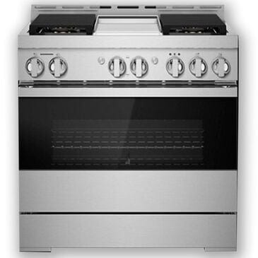 """Jenn-Air 36"""" Gas Professional Range with Chrome-Infused Griddle in Black Glass, , large"""