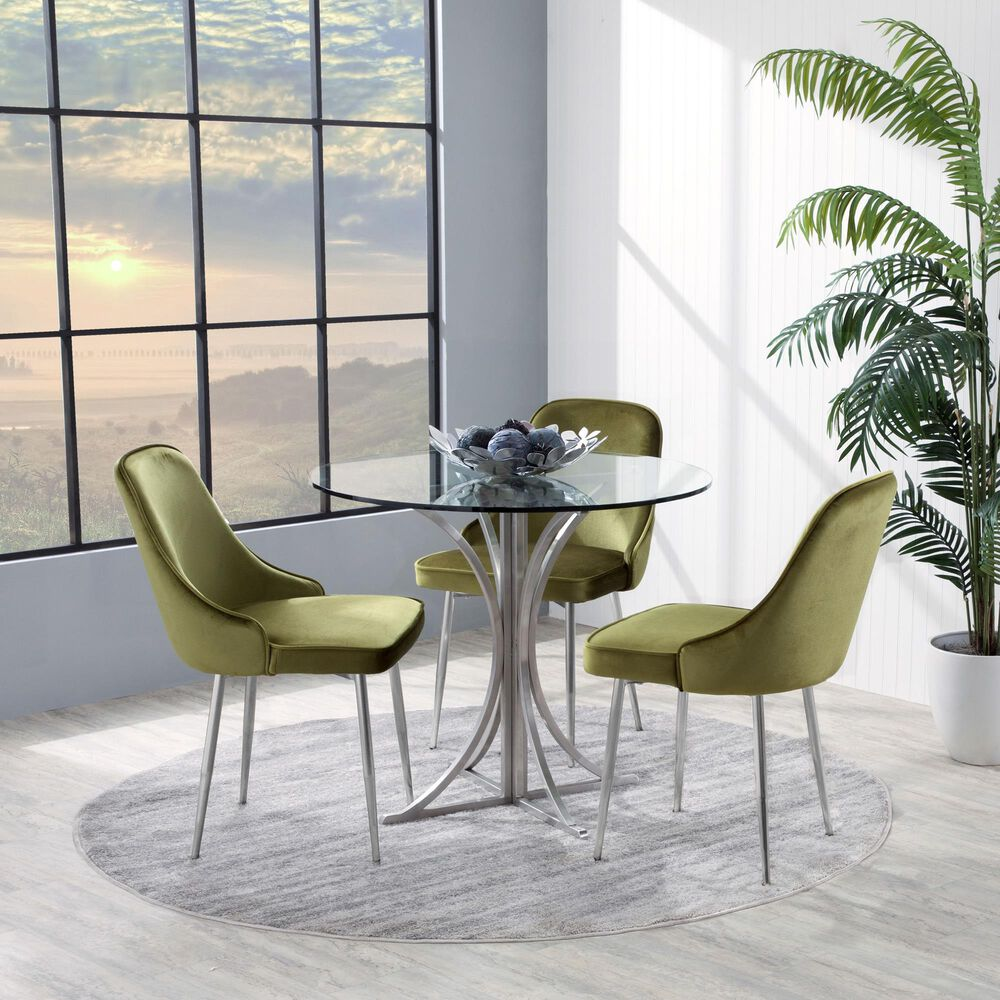 Lumisource Marcel Dining Chair in Green/Chrome (Set of 2), , large
