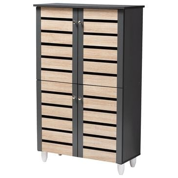 Baxton Studio Gisela 4-Door Shoe Storage Cabinet in Oak/Dark Gray, , large
