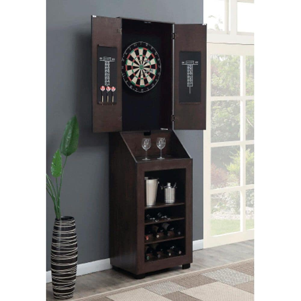 Mayberry Hill Bones Dartboard Cabinet with Wine Storage in Tobacco, , large