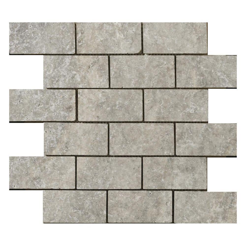 "Emser Travertine Ancient Tumbled Silver 12"" x 12"" Natural Stone Mosaic Sheet, , large"