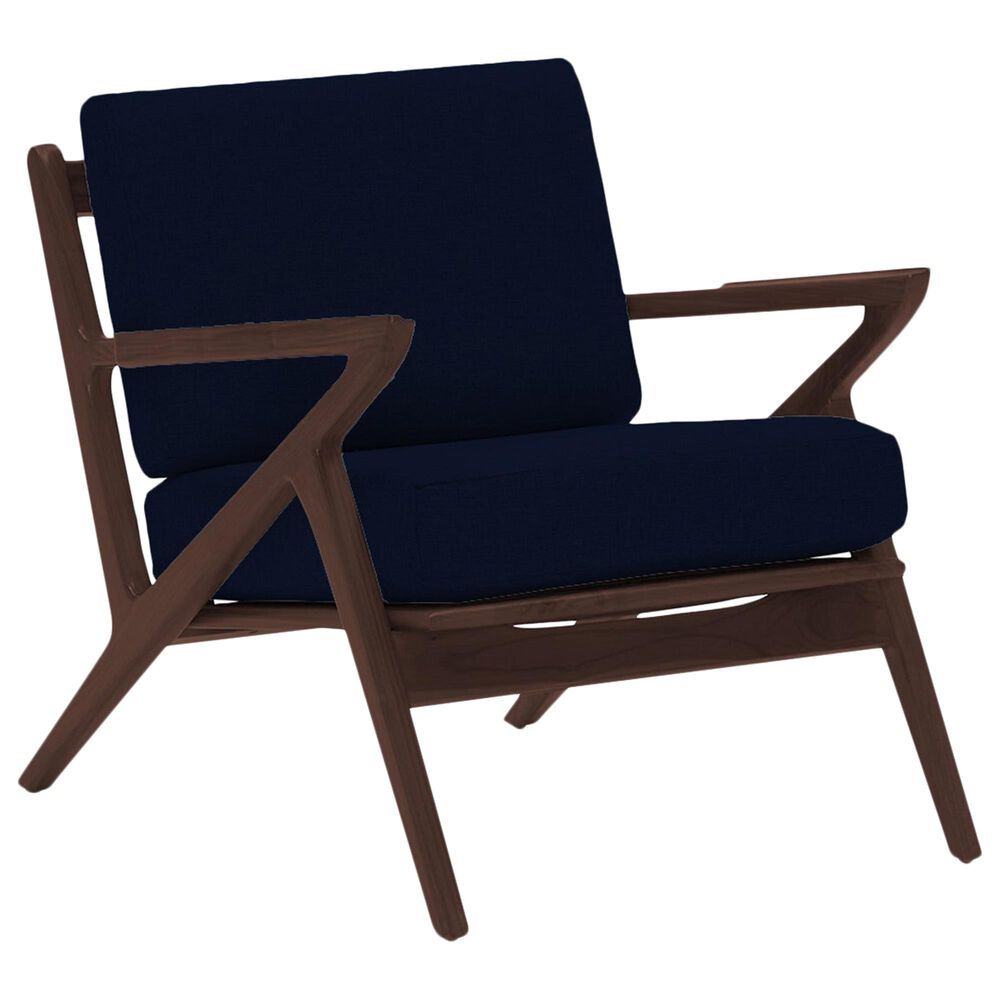 Joybird Soto Concave Arm Chair in Royale Cobalt Velvet and Walnut, , large