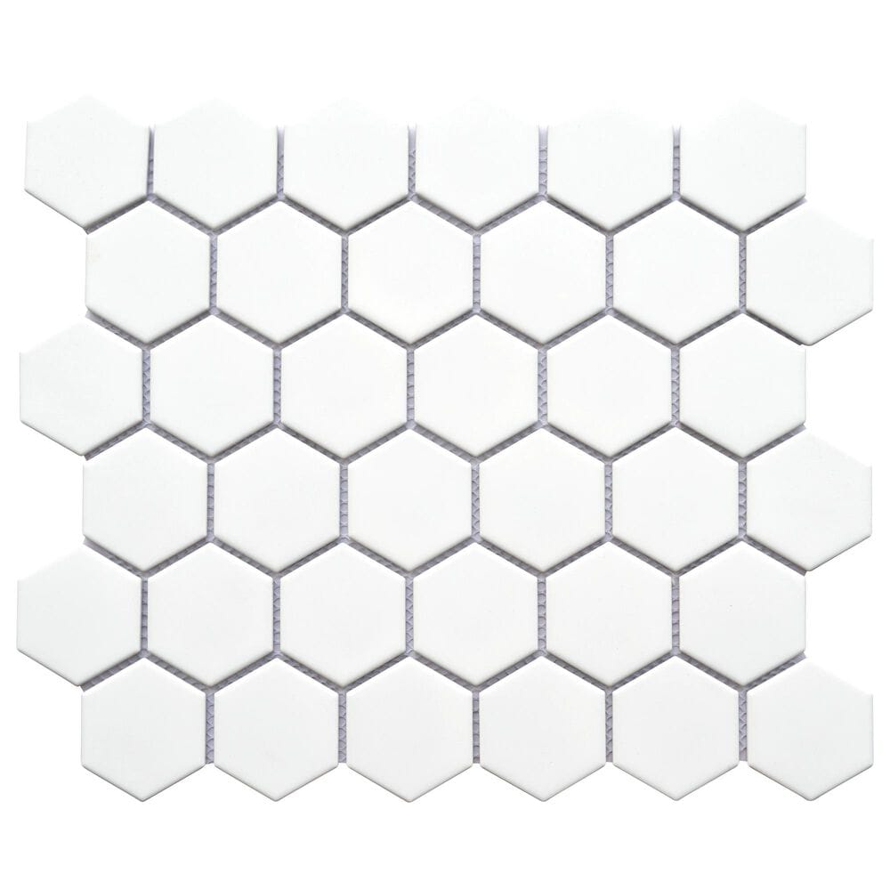 "Emser Impact White 2"" x 2"" Hexagon on 11"" x 13"" Porcelain Mosaic Sheet, , large"
