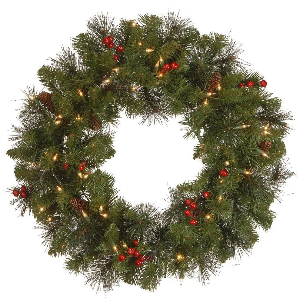 """National Tree 24"""" Crestwood Spruce Wreath with Silver Bristle, Cones, Cones, Red Berries and Glitter with 50 White Lights, , large"""