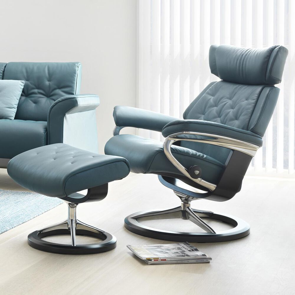 Ekornes Skyline Small Chair and Ottoman with Black Signature Base in Cori Petrol, , large