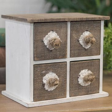 VIP Home and Garden Wood Jewelry Box in Brown/White, , large