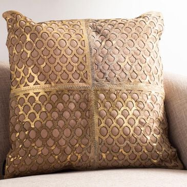 "Safavieh Metallic Fin Cowhide 18""x18"" Pillow in Beige/Gold, , large"