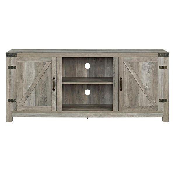 Walker Edison Wallington Collection 58 inch Barndoor TV Stand in Grey Wash