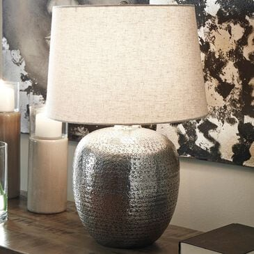 Signature Design by Ashley Magalie Metal Table Lamp in Antique Silver Finish, , large