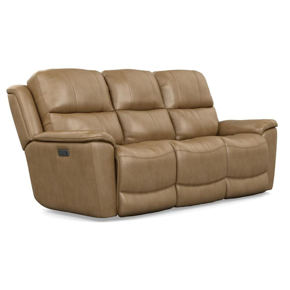Flexsteel Cade Leather Power Reclining Sofa in Sand, , large