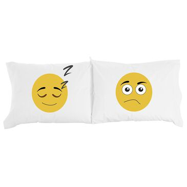 Shavel Home Products Micro Flannel Emojis Novelty Print Pillowcase Pair in White, , large