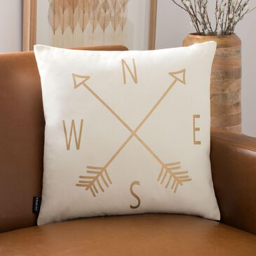 "Safavieh Compass 18"" Pillow in Beige and Gold, , large"