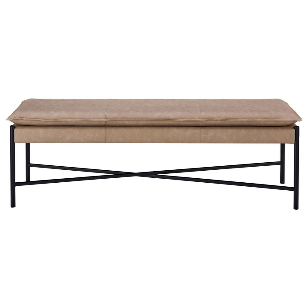 Southern Lighting Micah Bench with Mushroom Cushion in Black, , large