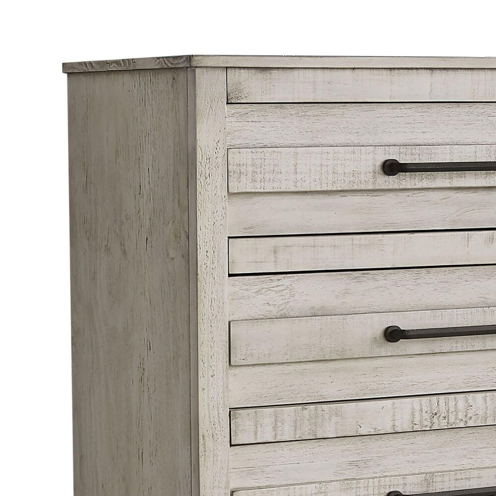 Richlands Furniture Villa 5 Drawer Chest in Distressed Bright White, , large